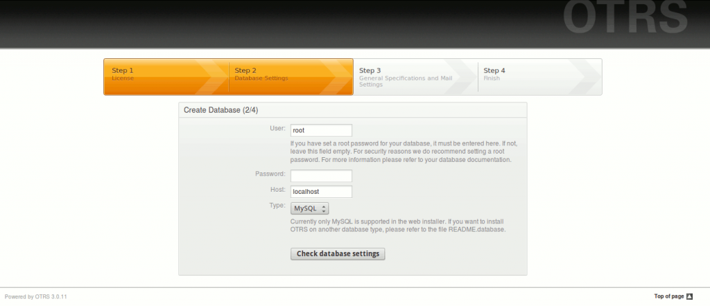 install check database 1024x442 Installer OTRS sur Ubuntu