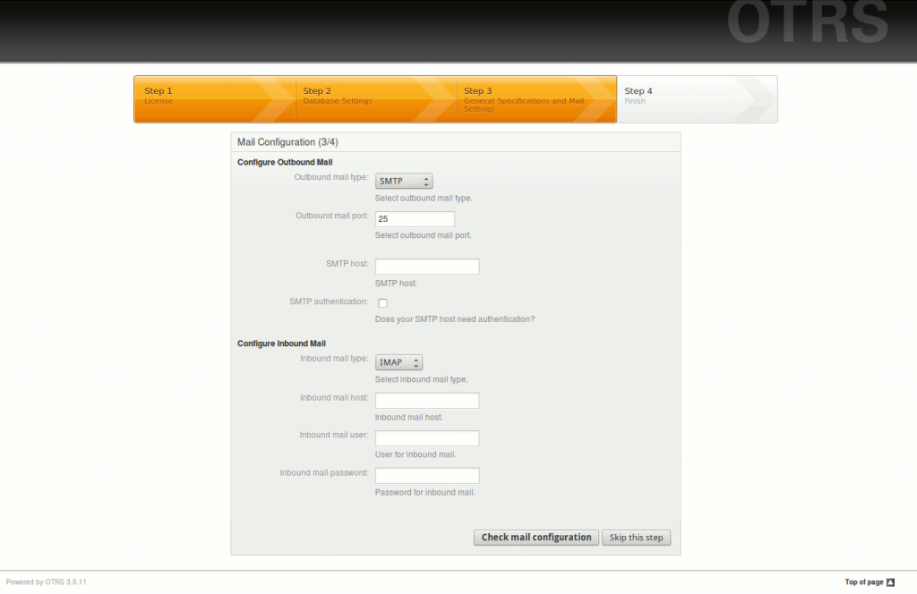 install config otrs mail
