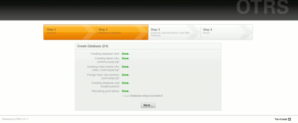 otrs install create database successfully
