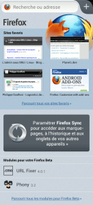 La Home de Firefox Beta pour Android